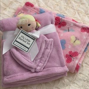 Doll Blanket and butterfly blanket set